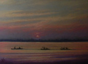 Rowboat Pastels - Paddling Back by Deb Spinella