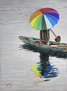 Umbrella Pastels Prints - Paddling Downstream Print by Maris Sherwood