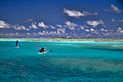 White Clouds Prints - Paddling in Moorea Print by David Smith