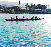 Padre Art Photos - Paddling Past Kailua Kona by Padre Art