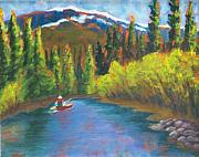 Cedars Paintings - Paddling the Fraser by Sally young Mason
