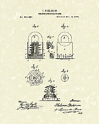 1876 Framed Prints - Padlock 1876 Patent Art Framed Print by Prior Art Design