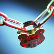 Linked Framed Prints - Padlock And Chain Framed Print by Tek Image