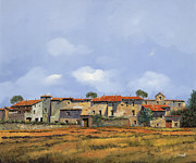 Village Painting Framed Prints - Paesaggio Aperto Framed Print by Guido Borelli