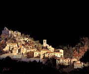 Night Painting Posters - Paesaggio Scuro Poster by Guido Borelli