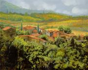Hill Painting Framed Prints - Paesaggio Toscano Framed Print by Guido Borelli