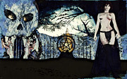 Halloween Scene Paintings - Pagan Portico by Maynard Ellis