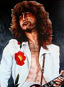 Jimmy Page Paintings - Page with Poppy by Richard Klingbeil