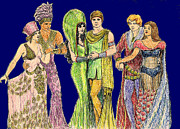Toga Drawings Prints - Pageant Couples Print by Mel Thompson