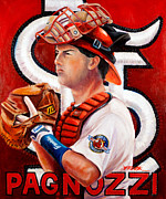 Major League Baseball Painting Prints - Pagnozzi Print by Jim Wetherington