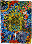 Ayahuasca Art Paintings - Pagoda Dorada by Pablo Amaringo