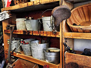 Metal Shelves Framed Prints - Pails Buckets and Baskets Framed Print by Cindy Nunn