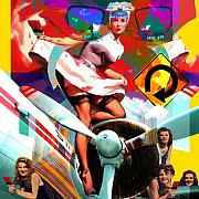Robert Anderson Prints - Paint Brush Girls Print by Robert Anderson
