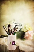 Table Cloth Metal Prints - Paint Brushes and Flowers Metal Print by Stephanie Frey