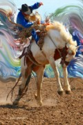 Stock Photo Digital Art - Paint Bucking Horse  ... Montana Art Photo by GiselaSchneider MontanaArtist