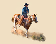 Cowboys Digital Art Metal Prints - Paint Horse  Rider Metal Print by Dewain Maney