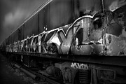 Abandoned Train Prints - Paint Job BW Print by Yhun Suarez