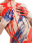 Covering Up Photo Framed Prints - Paint on Woman Body Framed Print by Oleksiy Maksymenko