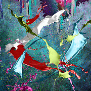 Acrylic Art Posters - Paint splashes Poster by Svetlana Sewell