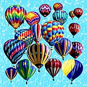 Hot Air Balloons Digital Art - Paint The Sky by David G Paul