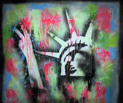 Statue Of Liberty Mixed Media Acrylic Prints - Paintball Peace Acrylic Print by Robert Wolverton Jr