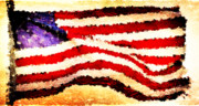 U.s.a. Digital Art Posters - Painted American Flag Poster by Andrea Barbieri