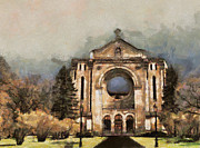 Historic Site Posters - Painted Basilica Poster by Teresa Zieba