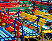 Park Benches Photos - Painted Benches by Perry Webster