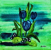 Painted Mixed Media Metal Prints - Painted Blue Tulips Metal Print by Marsha Heiken