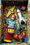 Airplane Prints - Painted box full of old toys Print by Garry Gay