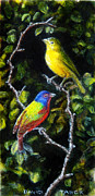 Bird Of Prey Art Paintings - Painted-buntings Pair by David Tabor