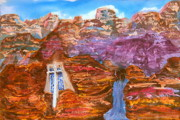 Churches Painting Originals - Painted Canyon Church by Margaret G Calenda