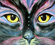 Mardi Gras Paintings - Painted Cat by Helga Gravitt