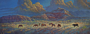 Wild Horses Mixed Media Posters - Painted Desert Painted Horses Poster by Rob Corsetti
