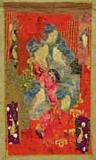 Art Quilt Tapestries - Textiles Framed Prints - Painted Geisha Framed Print by Roberta Baker