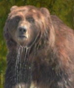 Montana Digital Art - Painted Grizzly ... Montana Art Photo by GiselaSchneider MontanaArtist