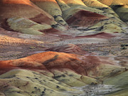 Geological Formations Framed Prints - Painted Hills Color and Texture Framed Print by Leland Howard