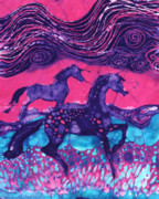 Bright Tapestries - Textiles Posters - Painted Horses Below the Wind Poster by Carol  Law Conklin