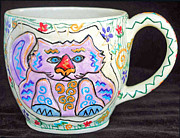 Whimsical Ceramics Posters - Painted Kitty Mug Poster by Joyce Jackson