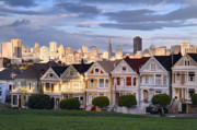 Sunset Photos - Painted Ladies in SF California by Pierre Leclerc