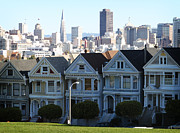 Alamo Square Framed Prints - Painted Ladies Framed Print by Linda Woods