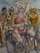 Cyclists Paintings - Painted ladies on the naked bike ride take a break in view of the London Eye by Peregrine Roskilly
