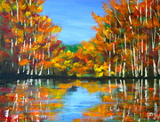 Foliage Paintings - Painted Lake by Pete Maier