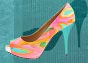 Stilettos Paintings - Painted Leather Platform Pumps by Elaine Plesser