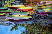 Water Lilies Paintings - Painted Moments by John Lautermilch