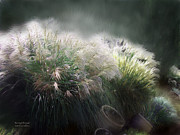 Pampas Grass Prints - Painted Pampas Print by Carol Cavalaris