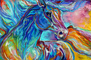 Abstract Equine Prints - PAINTED PONY ABSTRACT in PASTEL Print by Marcia Baldwin
