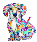 Colorful Animals Drawings Framed Prints - Painted Puppy Framed Print by Nick Gustafson