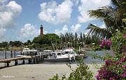 Jupiter Inlet Framed Prints - Painted Red Around 1910 Jupiter Inlet Lighthouse Florida Framed Print by Michelle Wiarda