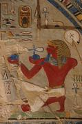 New Kingdom Temple Posters - Painted Relief Of Thutmosis Iii Poster by Kenneth Garrett